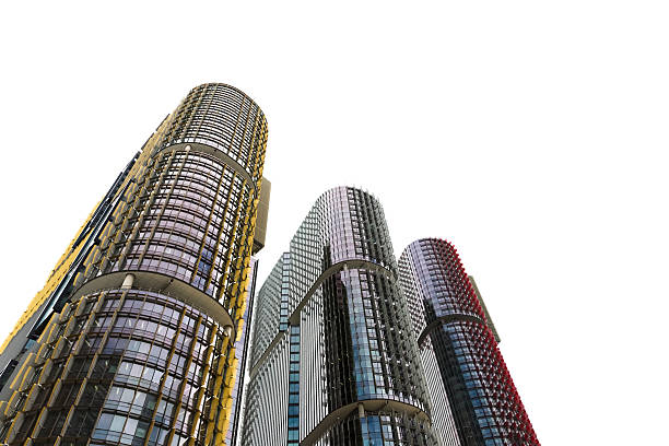 skyscrapers, sydney australia, white background with copy space - barangaroo stock photos and pictures