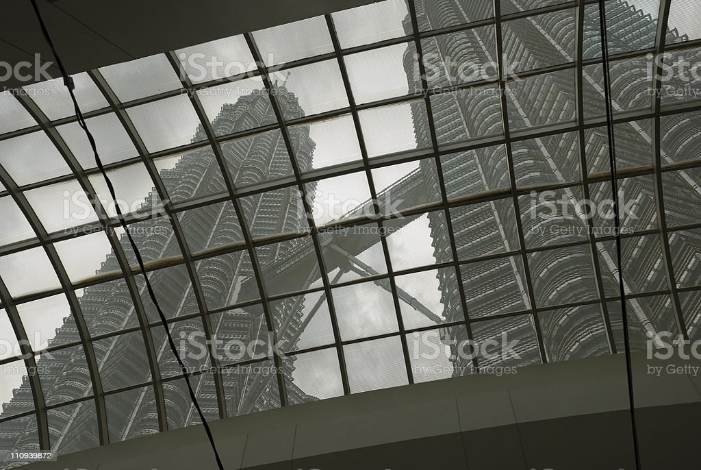 Skyscrapers through Glass Ceiling royalty-free stock photo
