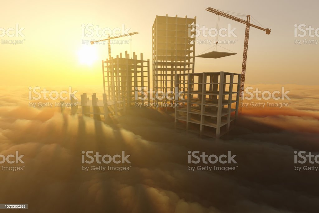 Skyscrapers under construction above the clouds stock photo