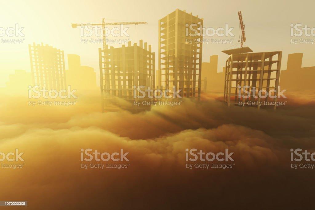 Skyscrapers under construction stock photo