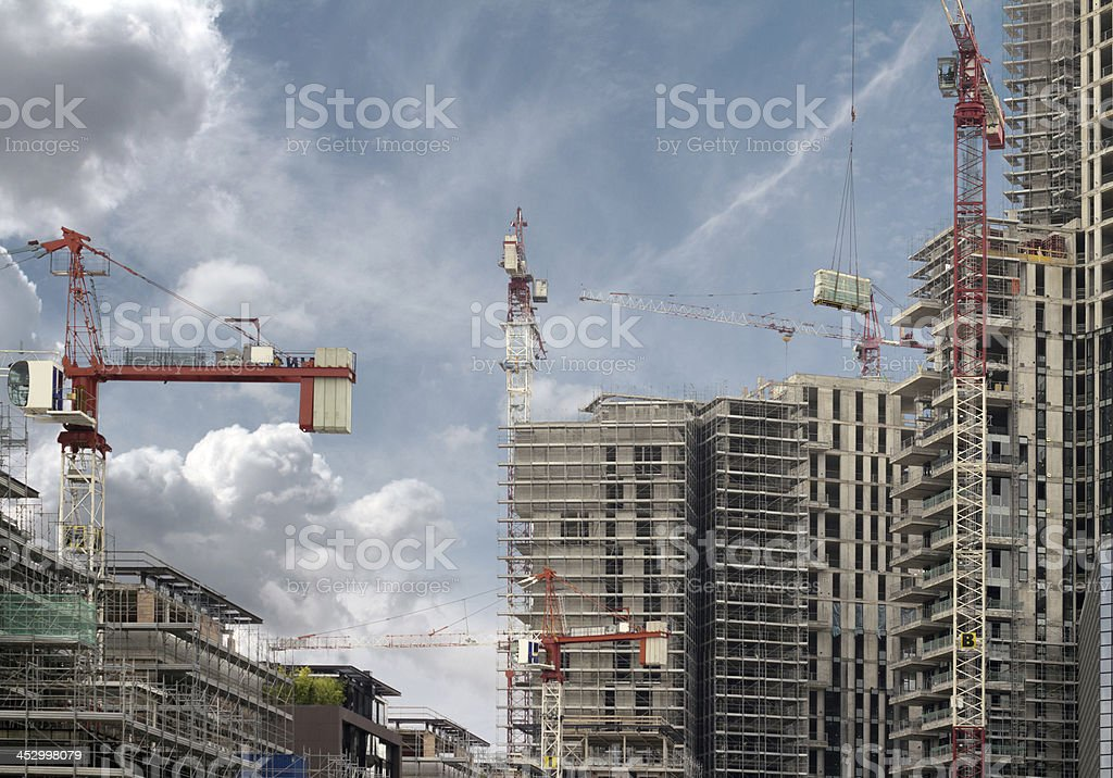 skyscrapers under construction stock photo
