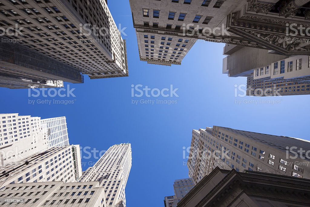 Skyscrapers, Wall Street, Lower Manhattan, New York royalty-free stock photo