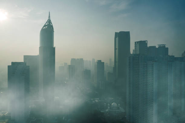 Skyscrapers with air pollution in Jakarta city