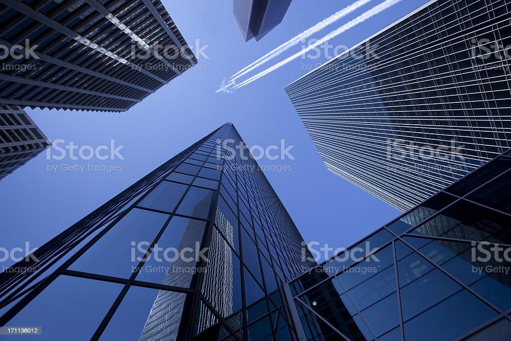 Skyscrapers with Jumbo Jet stock photo