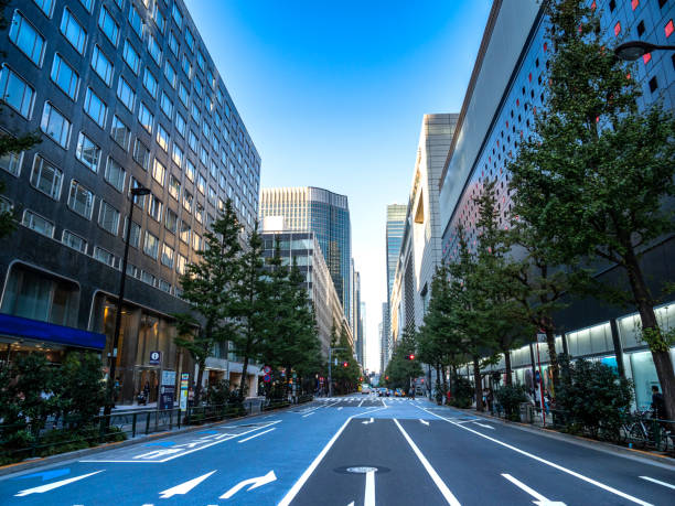 skyscrapers with street Tokyo, Japan stock photo