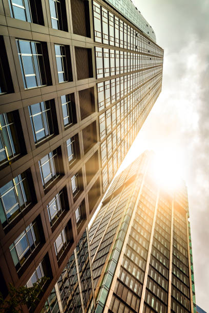 Skyscrapers with sunlight Skyscrapers with sunlight fluchtpunktperspektive stock pictures, royalty-free photos & images