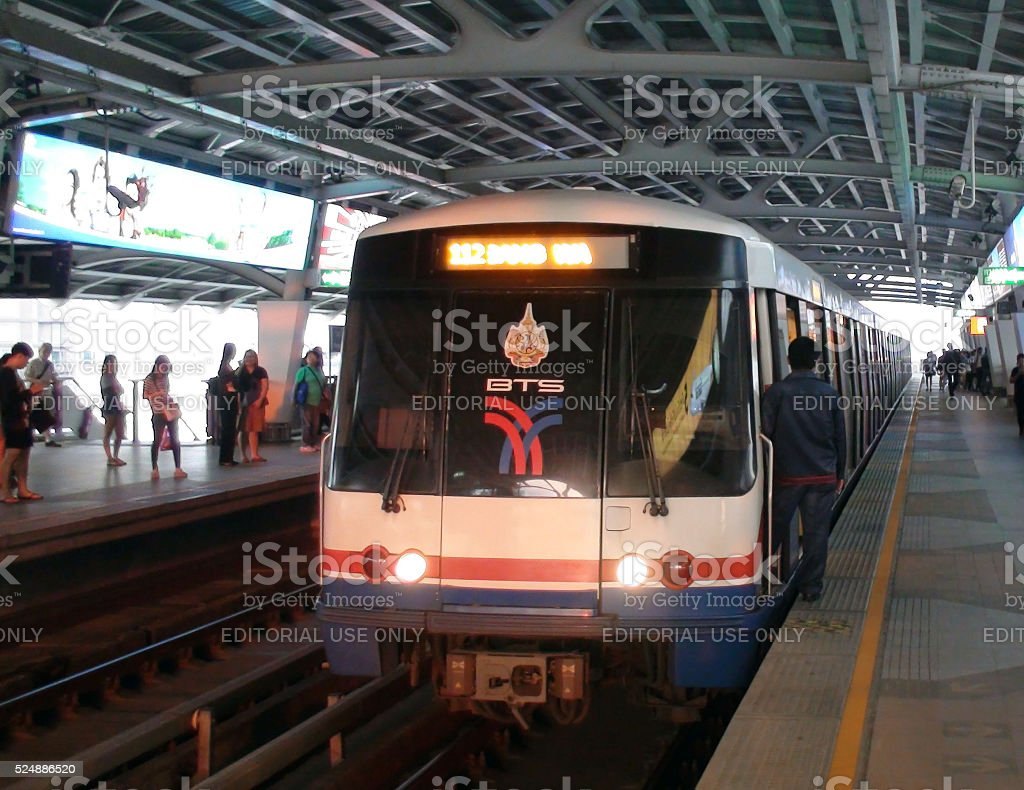 BTS Skytrain Conductor Waiting For Passengers To Depart Safety.Bangkok.Thailand stock photo