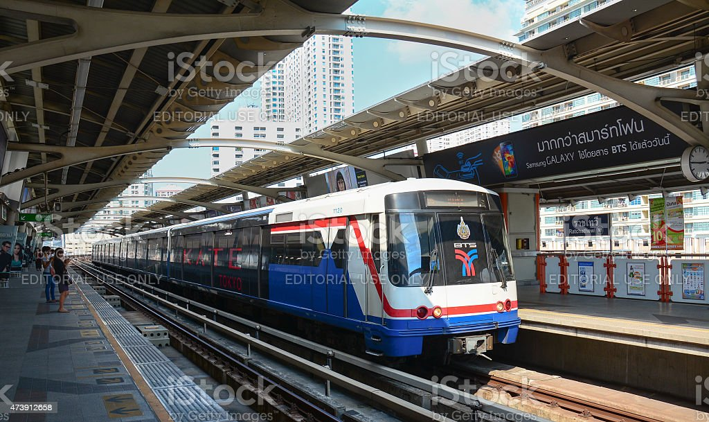 BTS Skytrain on elevated rails in Bangkok, Thailand stock photo