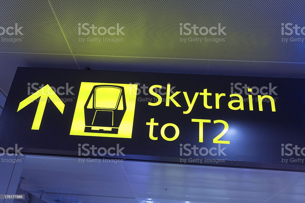 Skytrain Sign Panel at the Airport of Singapore stock photo