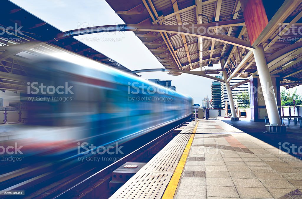 Skytrain.Bangkok cityscape stock photo