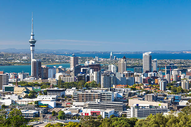 Skyview of all Auckland City with clear blue sky  stock photo