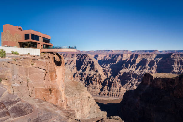 Skywalk observatory at Grand Canyon West Rim - Arizona, USA Skywalk glass observation bridge at Grand Canyon West Rim - Arizona, USA elevated walkway stock pictures, royalty-free photos & images