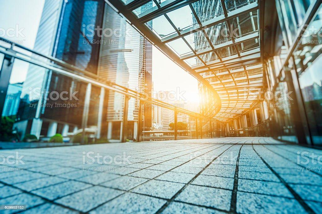 skywalk toward central district of hong kong stock photo