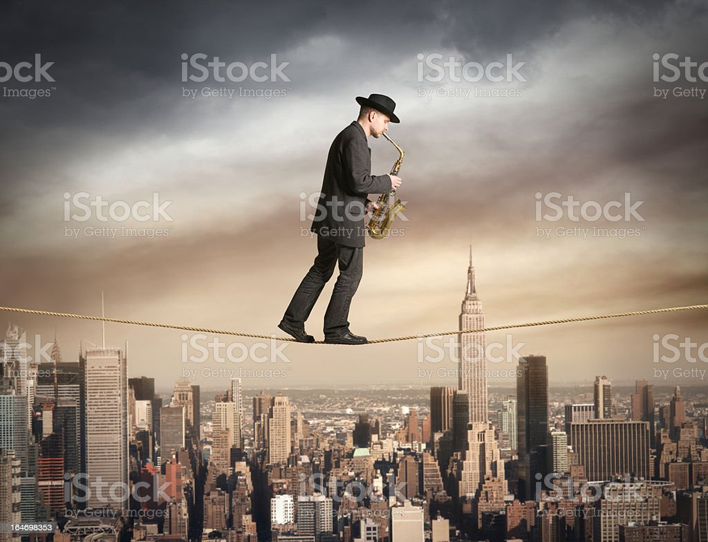 Skywalk with saxophone stock photo