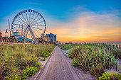 SkyWheel in Myrtle Beach, South Carolina, USA at Sunrise.