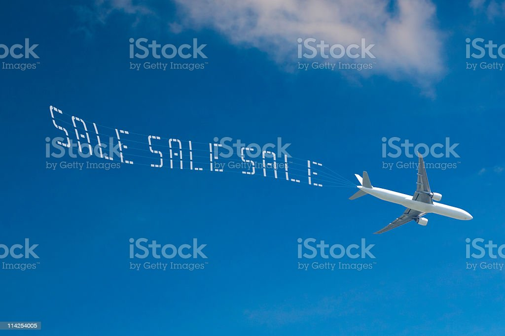 Skywriting the word SALE stock photo
