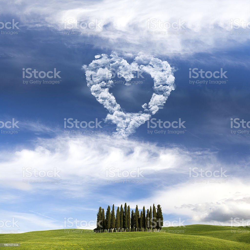 Skywriting with heart shape in Tuscany royalty-free stock photo