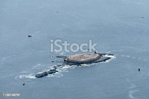 Laje Fort in Guanabara Bay, Rio de Janeiro, Brazil. A view from Sugarloaf Mountain.