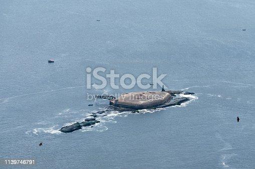 Laje Fort in Guanabara Bay, Rio de Janeiro, Brazil. A view from Sugarloaf Mountain.