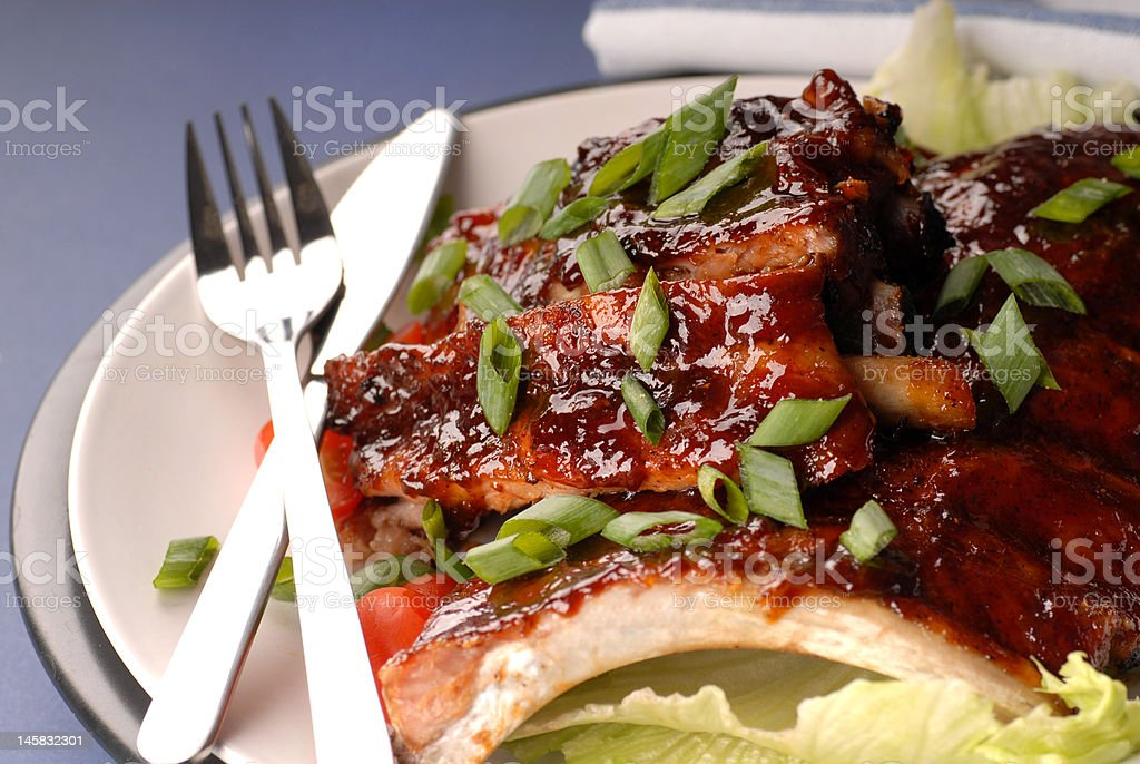Slab of BBQ ribs with scallions royalty-free stock photo