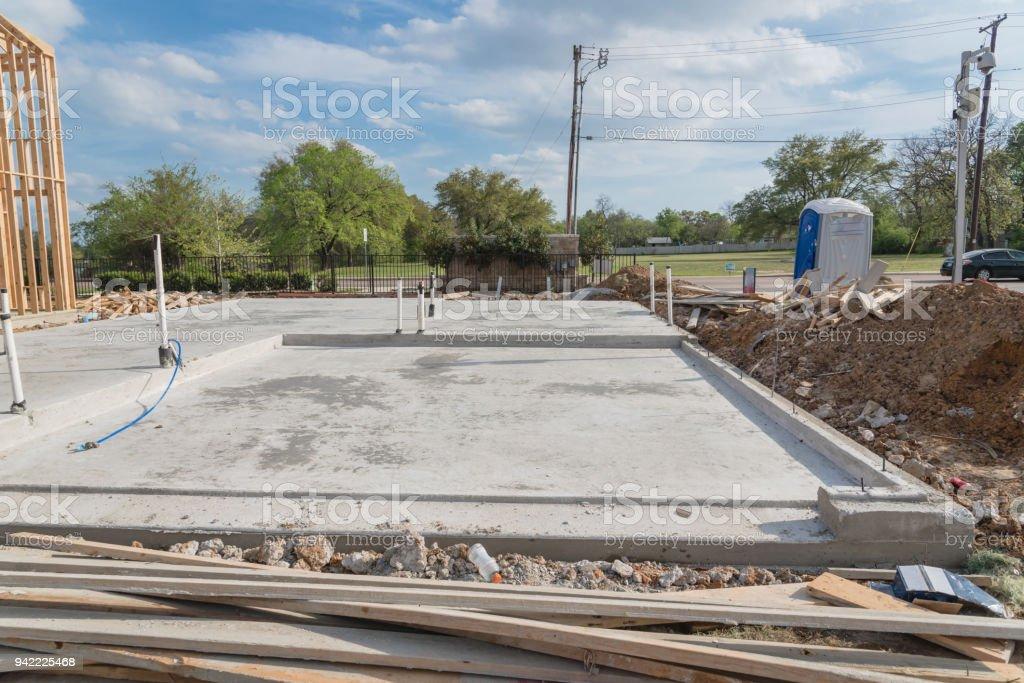 Platte Auf Grade Fundament Beton Für Holzrahmenhaus In Usa Stock ...