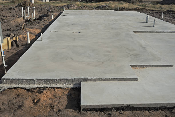 Slabs of concrete foundation for a building stock photo