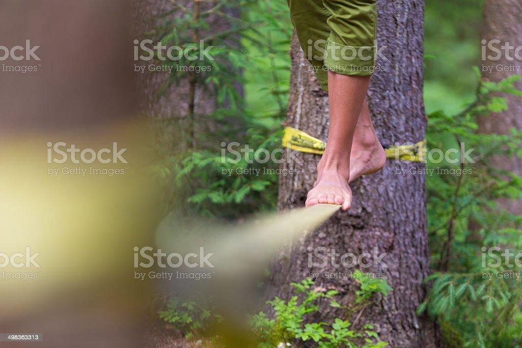 Slack line in the nature. stock photo