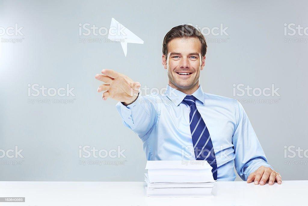 Slacking off at work stock photo