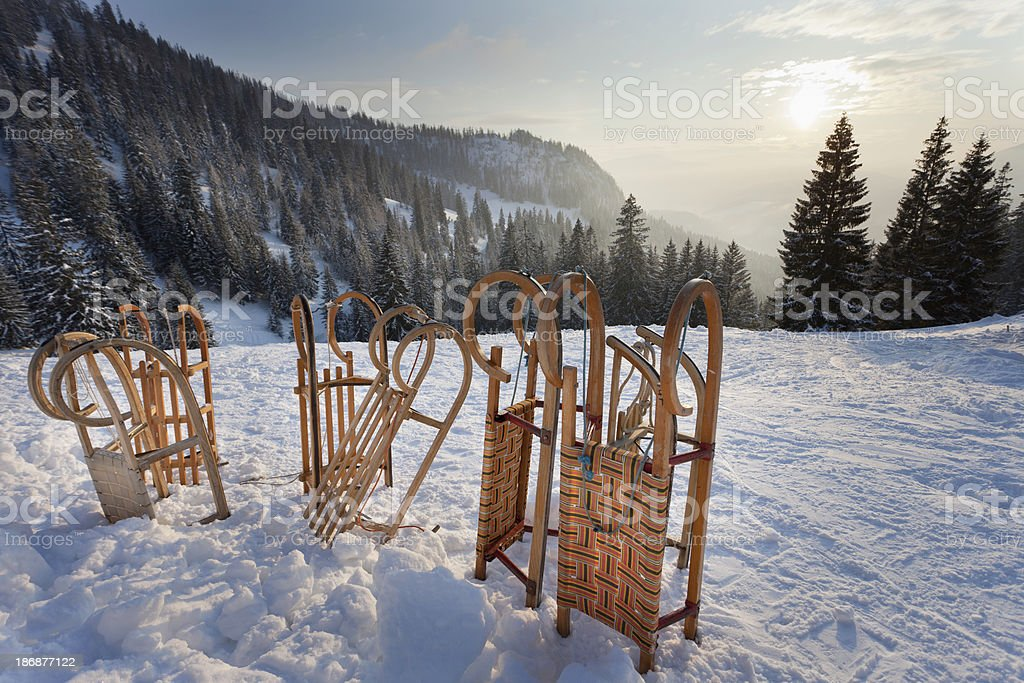 Sladges in a beautiful Winter scenery stock photo