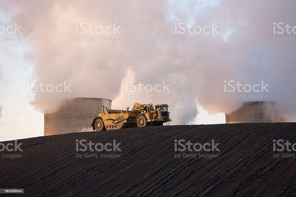Slag heap at a coal fueled power station. stock photo
