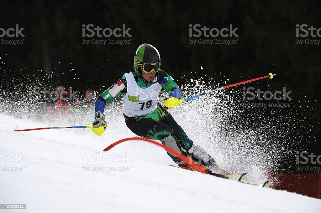 Slalom ski competition stock photo