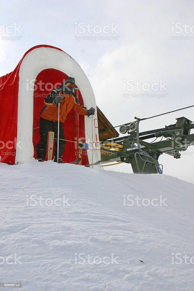 Slalom Ski racer stock photo