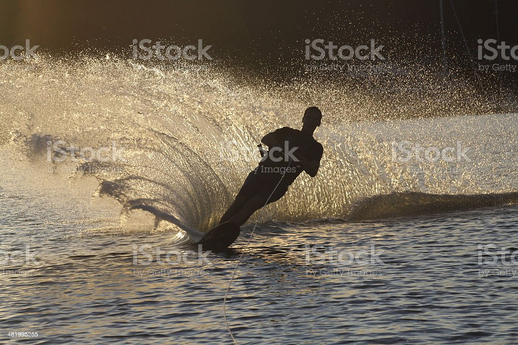 Slalom Water Skiing Silhouette stock photo