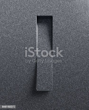 583978326 istock photo Slanted 3d font engraved and extruded from the surface letter I 848160072