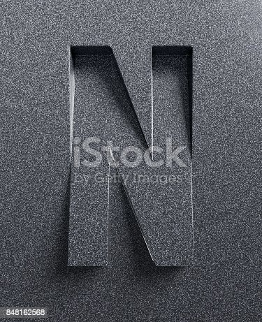 583978454istockphoto Slanted 3d font engraved and extruded from the surface letter N 848162568