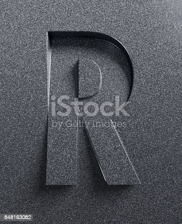 istock Slanted 3d font engraved and extruded from the surface letter R 848163082