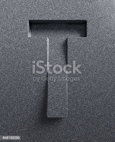 583978622 istock photo Slanted 3d font engraved and extruded from the surface letter T 848163250