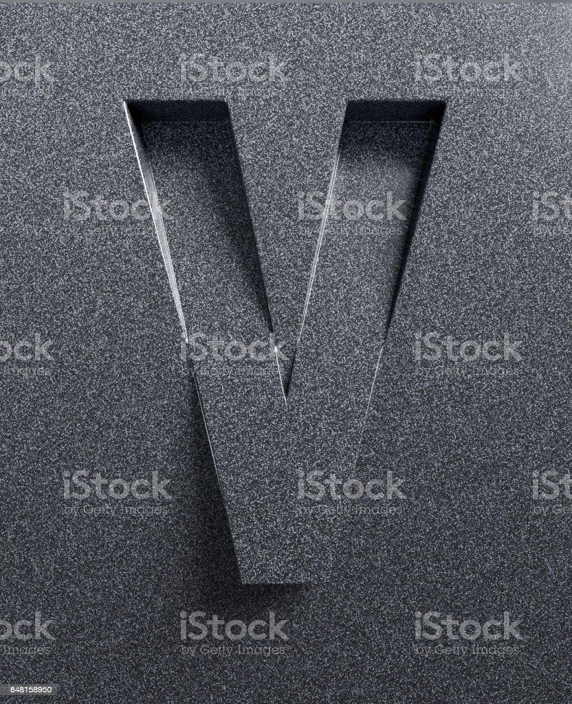 Fuente 3d inclinado grabado y sacado de la carta de superficie V - foto de stock