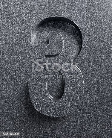 istock Slanted 3d font engraved and extruded from the surface number 3 848166006