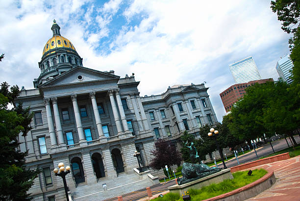 slanted angle view of colorado state capitol in denver, co - colorado state capitol stock photos and pictures