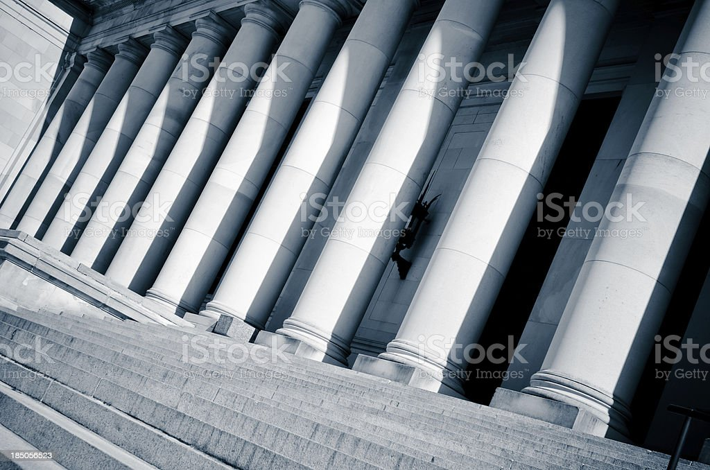 Slanted view of columns at Washington state capitol building stock photo