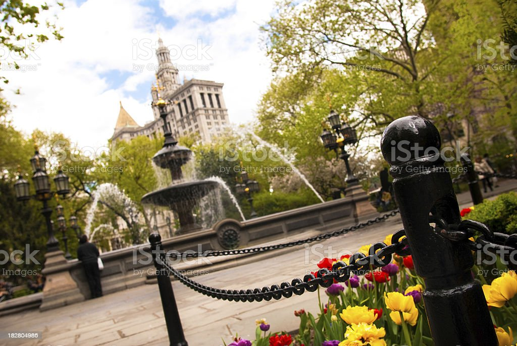 Slanted view of fountain at City Hall Park in Manhattan stock photo
