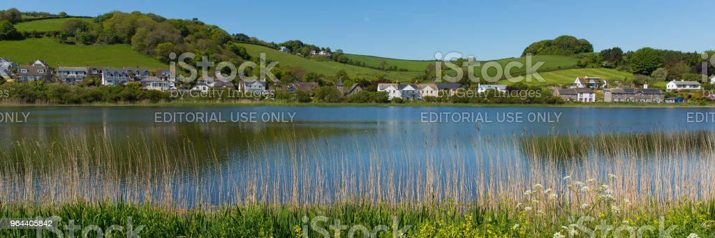 Slapton Ley nature reserve Torcross near Slapton Sands Devon UK panoramic view - Royalty-free Agricultural Field Stock Photo