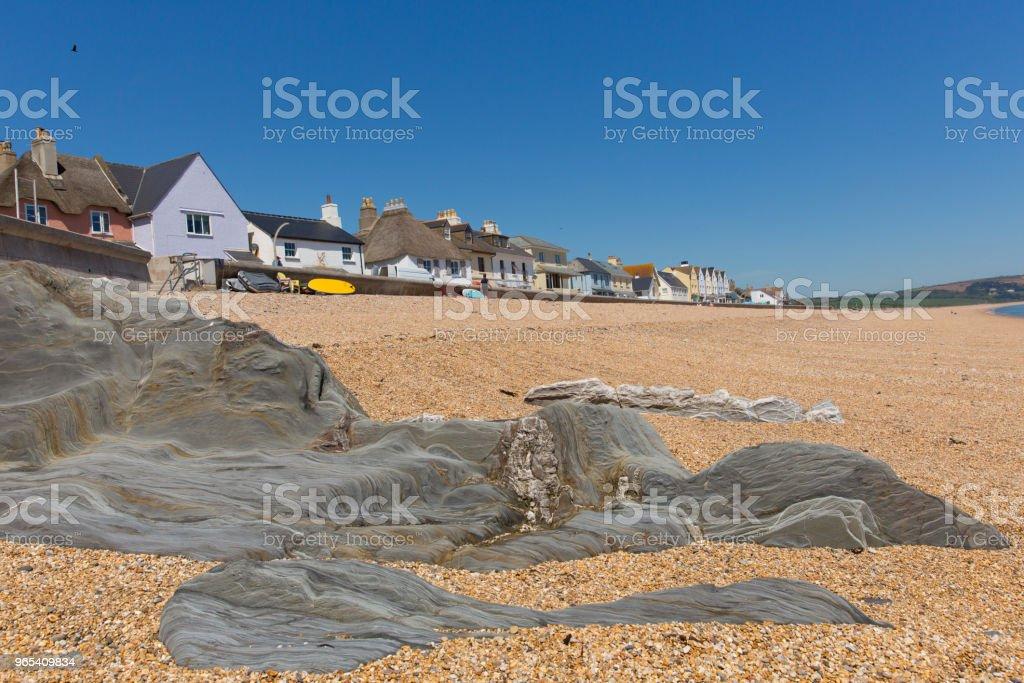 Slapton Sands beach and rocks Devon England UK zbiór zdjęć royalty-free