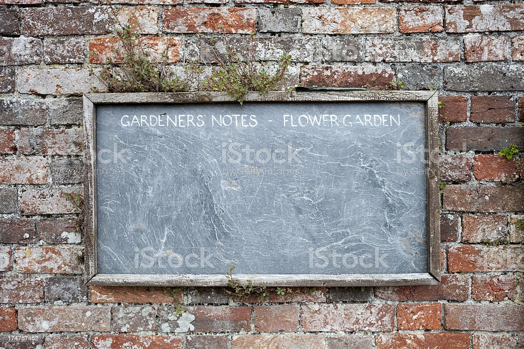 Slate chalkboard on garden wall stock photo