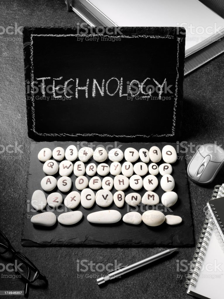 Slate Computer with Technology on the Screen royalty-free stock photo
