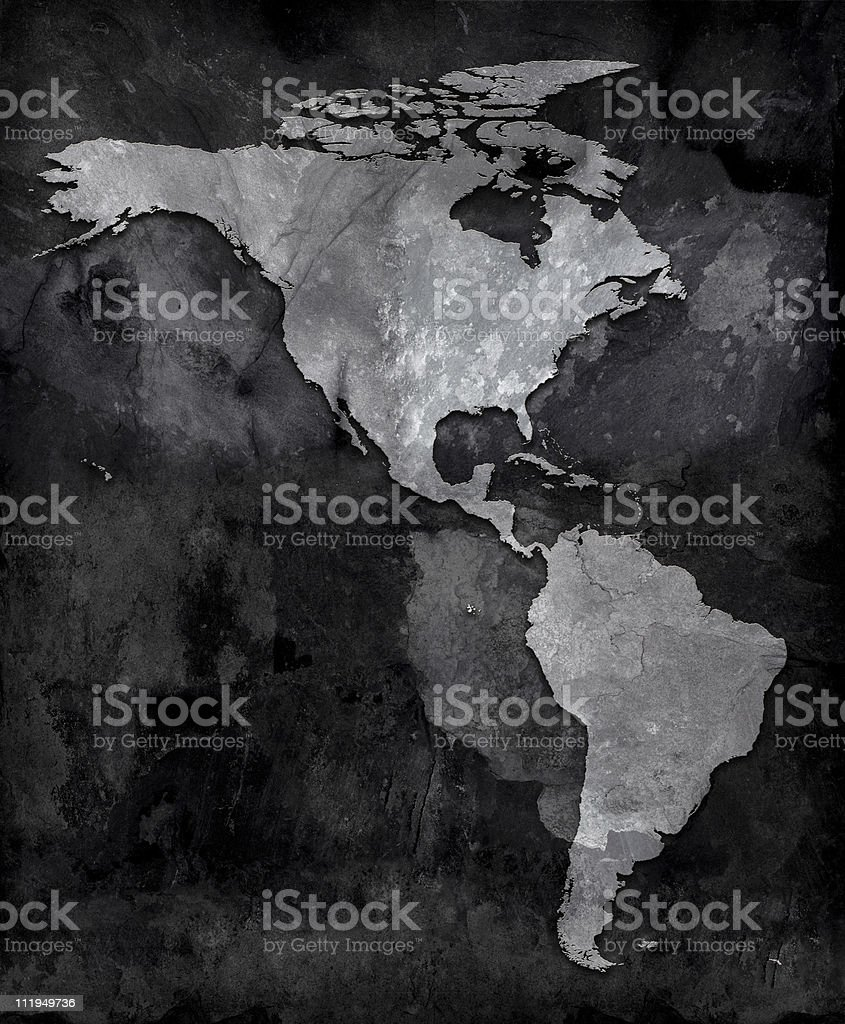 Slate map of the Americas royalty-free stock photo