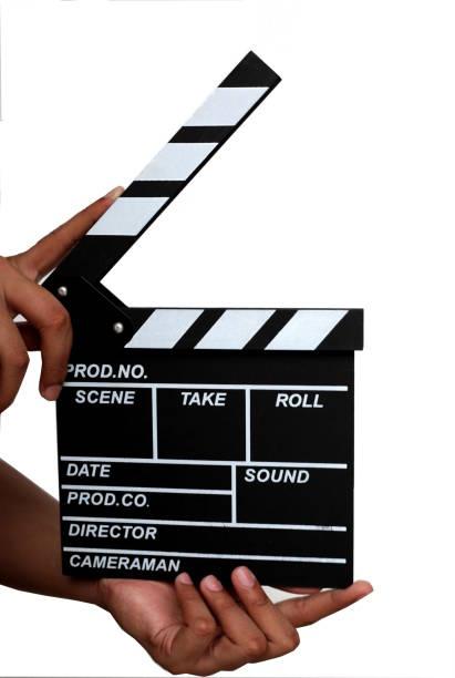 schiefer film isoliert - klappe hut stock-fotos und bilder