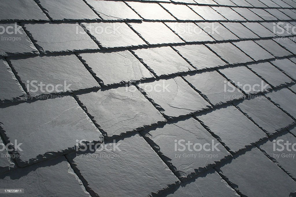 Slate roof with sun glare stock photo