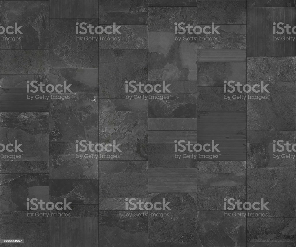 Slate tile ceramic, seamless texture dark gray map for 3d graphics stock photo